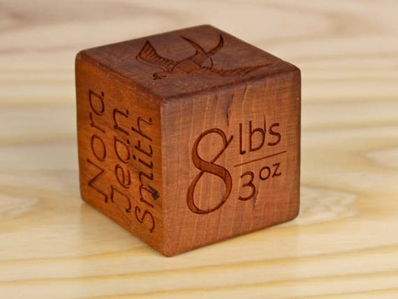 Baby Gift, PERSONALIZED Wooden Birthday Block, Solid Cherry, Laser Engraved, Alphabet, Date of Birth, Full Name, Paul Szewc