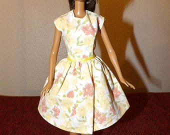 Modest yellow, orange & white floral dress for Fashion Dolls - ed1028