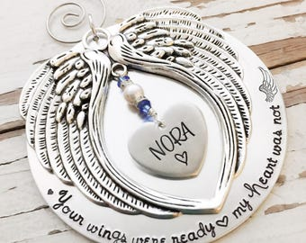 hand stamped christmas Ornament Your Wings Were Ready My Heart Was Not Memorial Snowflake handstamped bereavement gift