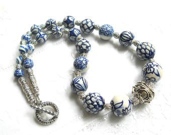 Delft blue necklace delft blue jewelry Delft Holland blue necklace  blue and white necklace delft necklace