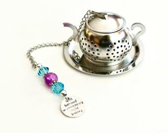 Well Behaved Women Rarely Make History Tea Infuser, Purple & Aqua Blue Beads, Beaded Mesh Tea Ball, Mad Hatter Tea Party, High Tea, Tea Gift