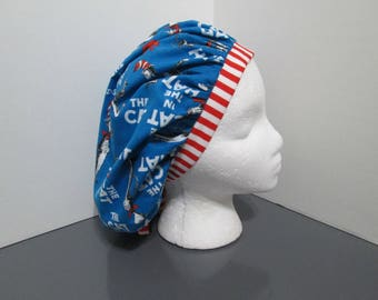 "Dr. Seuss ""The Cat in the Hat"" with Coordinating Stripe Bouffant Surgical Scrub Cap"
