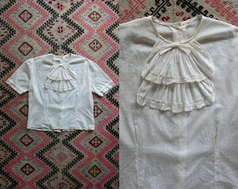 1920's White Cotton Blouse / 1910's Edwardian Era / Short Sleeve Top / Women's