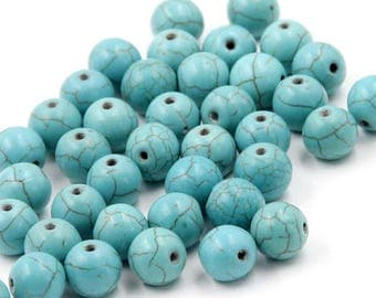 10mm 180Pcs Blue Howlite Turquoise Beads Loose Finding For Handwork-- ja2063