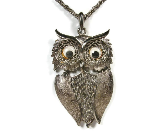 Vintage Silver Owl Pendant Necklace with Googly Eyes 1970s