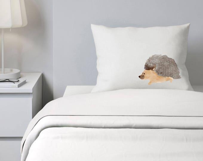 Custom Pillowcase, Hedgehog Pillowcase, Girls or Boys Bedding, Personalized Pillowcase