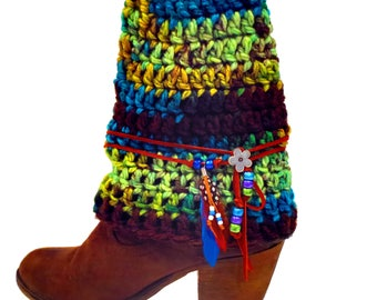 Boho Boot Cuffs With Leather Wrap, Handmade Bohemian Boot Cuffs, Boho Clothes, Hippie Clothes, Boot Socks, Boot Jewelry, Festival Clothes