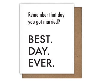 Best Day Ever Anniversary Letterpress Greeting Card Married