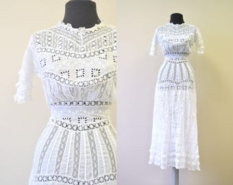 Edwardian White Lace Lawn Dress