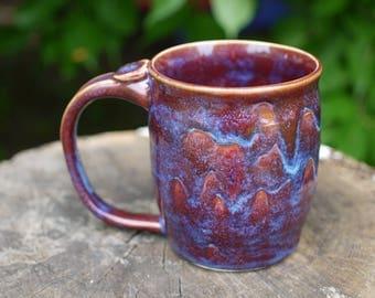 Hand made Mug, Pottery Coffee Mug, Wheel thown pottery Mug, Ceramic Mug, Boho mug, Coffee Mug purple, coffee mug blue, Christmas Gift, gift