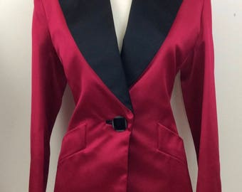 Yves Saint Laurent Rive Gauche Rose Red and Black Satin Tuxedo Jacket/Blazer