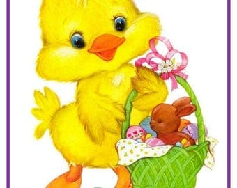 GREAT SALE Contemporary Easter Duck with Easter Basket Chocolate Bunny and Eggs Counted Cross Stitch Chart / Pattern