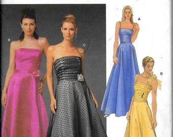 Simplicity 5238 Jessica McClintock Strapless Evening Dress Gown Sewing Pattern UNCUT Plus Size 16,18, 20, 22