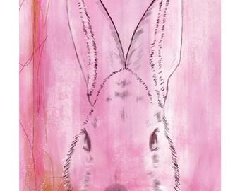 5x7 Nursery Print - Bunny, Pink