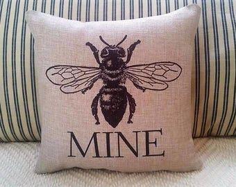 Valentine pillow, BEE pillow, Farmhouse decor, bee mine pillow