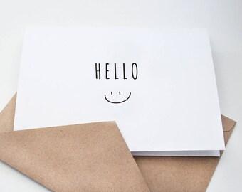 Hello  --  Smile --  Set of Notes/Envelopes in White & Kraft -- CHOOSE YOUR QUANTITY
