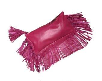 Pink Leather Clutch Bag - Fuchsia Zipper Clutch Bag - Pink Leather fringe bag - Zippered clutch bag - Leather clutch - Boho bag - FRANGIA