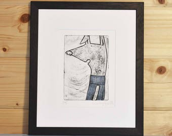 Whippet print, whippet art print, whippet jumper print, handpulled whippet drypoint etching, handprinted fun original dog print, unframed