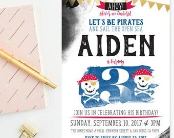 Blue & Red Watercolor - Pirates Third Birthday - Little Boy Birthday Party Invitation