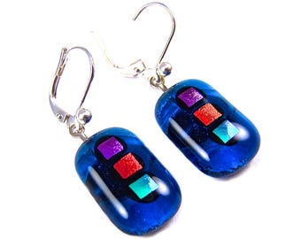 Blue Dichroic EUROWIRE Dangle - Lever Back Earrings - Teal Blue Orange Pink Gemstones Line w/ Sapphire Stained Glass Dangles