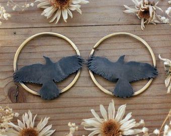 Brass Raven Crow Bird Hoops Hoops for Eyelets Hoops for Plugs Ritual Remains 10 Gauge Gauged Hoop Crow Jewelry Earring 10g 10 Gauge