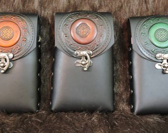 Instock 8oz Hip Flask or Cell Phone Leather Belt Pouch, Celtic Patch