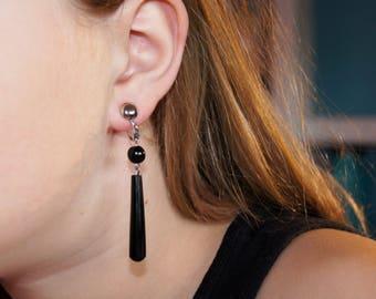 1960's Hawaiian Black Coral Drop Earrings