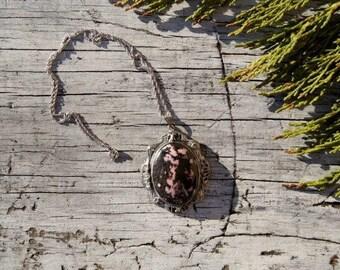 Rhodonite Silver Filigree Healing Stone Necklace