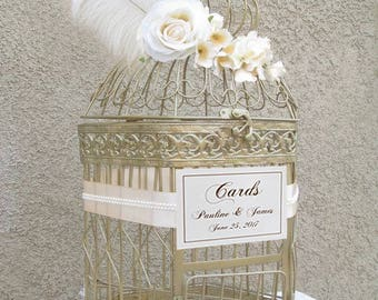 XL Champagne Birdcage with Feathers-Wedding Card Holder