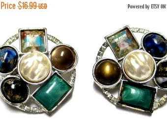"""25% Off Sarah Coventry """" Happy Holiday"""" Multiple Gemstone Clip Earrings"""