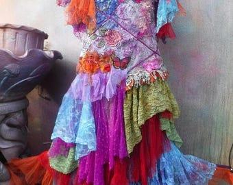 20%OFF wedding, bridal, fantasy, tattered, wedding dress, gypsy wedding, woodland, bridesmaid dress,stevie nicks, smaller to 36''