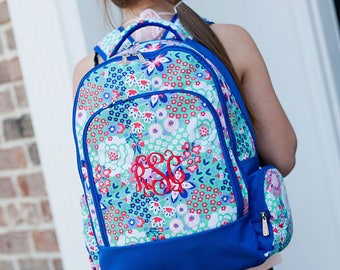 FREE pencil pouch offer FREE monogramming - Personalized Monogrammed Full sized Embroidered Blue Garden Party Flowers Backpack Bookbag
