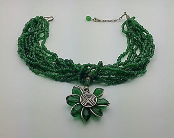 Vintage Rustic Torsade Necklace - Strands of Dark Emerald Green Glass Beads - Hand Crafted flower pendant - Secure clasps -  OOAK  Necklace