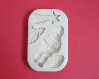 Moule silicone Noël type 1 pour décoration loisirs créatifs scrapbooking Fimo