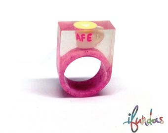 Resin Coffee Ring, Hand Made, Chunky Statement Ring, Coffee Cup Ring, Resin Ring, Pink ring, sprinkles, chunky ring, clear ring, coffee