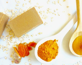 Turmeric Oatmeal Honey Face Wash; Skin Brightenig Face Soap; Ayurvedic Handmade Soap; Acne Soap; Face Cleanser, Face Wash; Coconut OIl Free