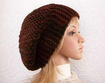 Hand knit slouch hat - knit beanie - brown, rust colors handmade Winter Fashion Winter Accessories by Sandy Coastal Designs - ready to ship