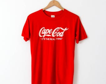 vintage Cape Cod t-shirt, red Coca-Cola style graphic tee