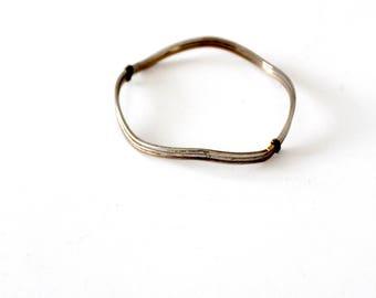 vintage silver wave bangle bracelet, slender wavy bangle