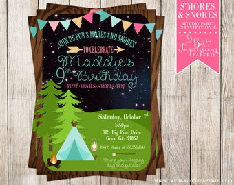S'mores and Snores - A Camping Birthday Party Invitation for a Night Under the Stars! Girls Camping Party