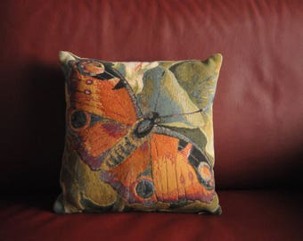 Authentic flemish gobelin pillow / cushion : butterfly