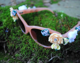 Bridesmaid Gift Sunglasses Floral Bridal Party Group Photo Prop - Peach