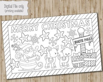 Christmas Kids Coloring Placemat, Craft, DIY, Printable, Childrens Christmas Craft, Coloring page, Class party