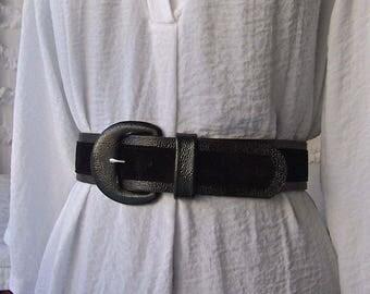 Vintage Black Leather Belt Black Suede Accent Size Medium Via Spiga Italian Leather 1990s