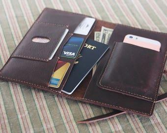 Natural Leather Travel Wallet,Passport Holder,Cellphone Wallet,Travel ID, All-Weather Notebook,Multiple Passports Holder,Traveler Gift