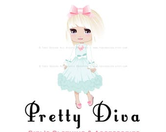 OOAK Character Illustrated Premade Logo design Pretty DIVA- Girls Tutu and hair accessories Boutique Clothing -