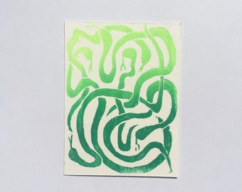 "Green Ombre Lino Cut Snake Print 3"" x 4"" / Handprinted Colorful Art"