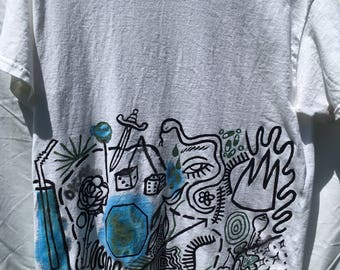 Painted White T-Shirt by Sam Pletcher /  Hand Painted Artist Clothing / One of a Kind Art