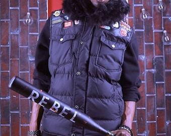 Black Faux fur patch vest