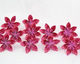 12 Origami Flowers / Paper Flowers / Pink Paper Flowers
